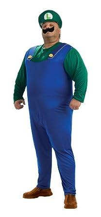 amazon com super mario brothers luigi costume green plus clothing
