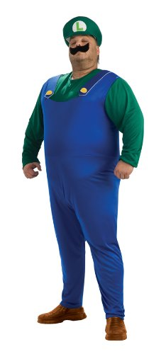 Luigi Costumes Mens (Super Mario Brothers Luigi Costume, Green Plus)