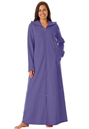 Dreams & Co. Women's Plus Size Long Ultra-Soft Fleece Hoodie Robe . Iris,4X