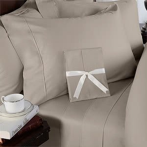 Egyptian Bedding 300-Thread-Count Egyptian Cotton 300TC Sheet Set, Queen, Taupe Solid 300 TC ()