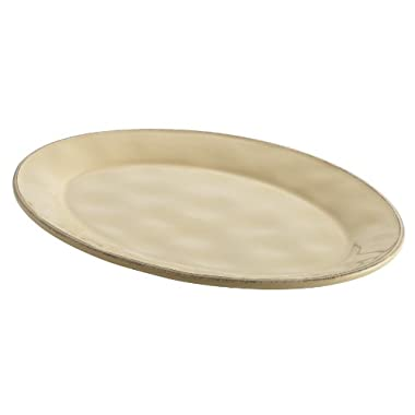 Rachael Ray Cucina Dinnerware 10-Inch x 14-Inch Stoneware Oval Platter, Almond Cream