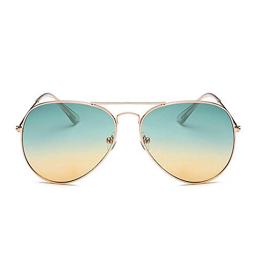 KATCOCO Lightweight Classic Aviator Style Metal Frame Sunglasses Colored Lens (Ocean)