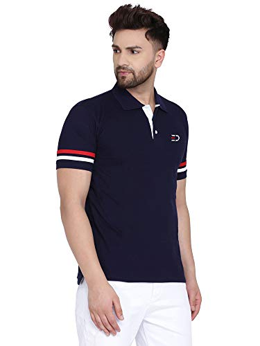 Lyned Mens Cotton Half Sleeve Striped Polo T Shirt with Collar