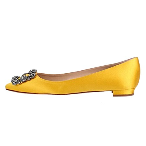 Evening Toe Sole Pointed Slip Yellow Chris 4 US Full 15 Heel T Jeweled High Pumps Satin Pumps On Diamonds flats Stiletto Women's x8zwYxZ