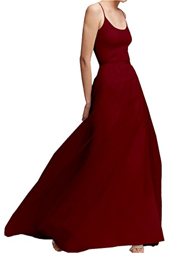 Donne Damigella Per Bordeaux Le Abito Da Linea Un Sposa Sposa Da Elegante Amore Vestire D'onore Di Tulle ETfZ6HOqWH