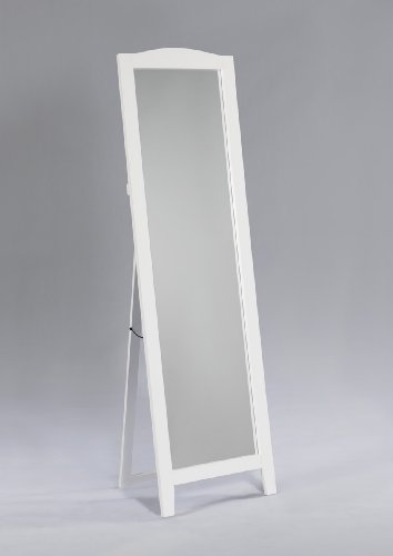 King's Brand White Finish Wood Frame Floor Standing - Freestanding Bathroom Mirrors Rectangular