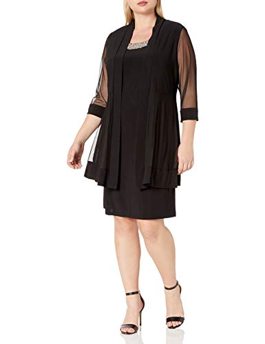 R&M Richards Women's Size 2 Piece Mesh Panel Beaded Neck Jacket Dress Plus, Black, 16W