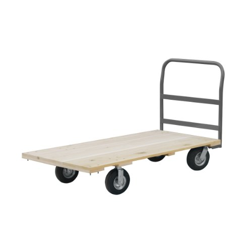 Akro-Mils RPT30605K5G6GY 30-Inch by 60-Inch Industrial Grade Hard Wood Platform Truck with Crossbar Handle and 6-Inch Polyurethane Casters- 2400-Pound capacity
