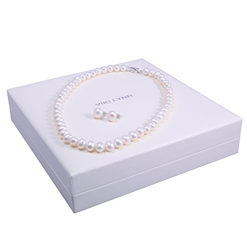 f2b3dc2a2 Pearl Necklace and Earrings Set 7-8mm Freshwater Cultured Pearl Jewelry for  Women – VIKI LYNN