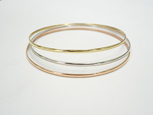 2.00 MM. Half Round 10 K &14 K Solid Gold Slip-On Stacking Bangle/Bracelets Tricolor SOLID GOLD(NOT HOLLOW OR TUBE) by A.H. Design