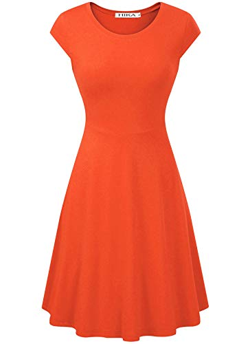 HIKA Women's Casual Elegant A Line Short Cap Sleeve Round Neck Dress (Small, Orange)