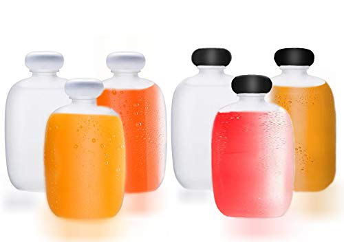 6 Packs Small Juice Mini Glass Liquor Wine Bottles for Beer Milk Beverage Perfume Oil Sauce Whiskey Soda Liquid Storage Honey Drink Containers with Leak Proof Cap (100ML/3.38OZ, Frosted Glass).