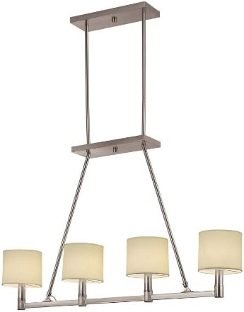 Portfolio 4-light Island Pendant Light Fixture featuring Brushed Nickel Finish, Beige Fabric Shades Model 34532