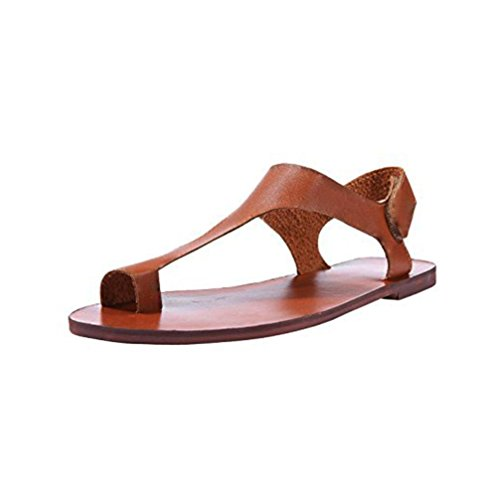 DEESEE(TM) Women Ankle Strap Roman Flat Clip Toe Solid Sandals Shoes (US:8=Foot Length:25.0-25.5cm/9.9-10.1