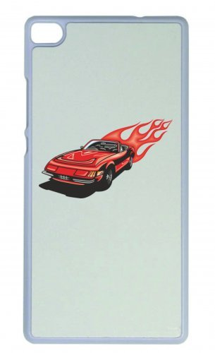 "Smartphone Case Apple IPhone 7 ""Roter Sportwagen mit roten Flammen America Amy USA Auto Car Luxus Breitbau V8 V12 Motor Felge Tuning Mustang Cobra"" Spass- Kult- Motiv Geschenkidee Ostern Weihnachten"