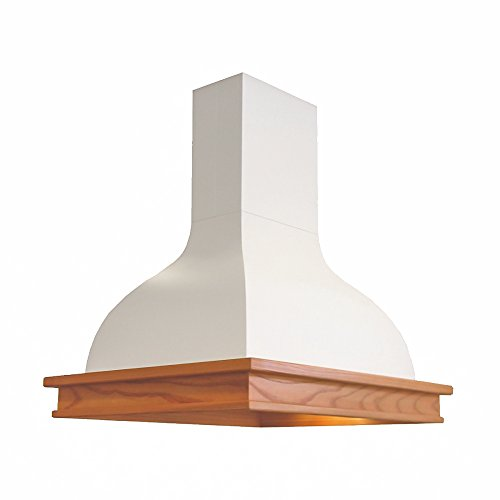 Futuro Futuro Connecticut 36 Inch Island-mount Range Hood, White Steel & Wood Trim, Classic Style, Ultra-Quiet, with Blower (French Range Hood)