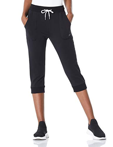 7Goals Women's Sports Capri Pants French Terry Active Yoga Drawstring Lounge Sweatpants with Pockets,Black,M