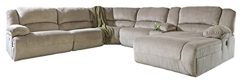 Ashley Furniture Signature Design - Toletta 6-Piece Sectional - Left Arm Facing Recliner with Armless Recliner & Chair, Wedge & Right Arm Power Chaise - (Sectional Armless Power Recliner)