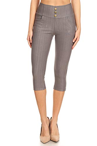 Capri Slim Jeans - Women's High Waist Stretch Skinny Denim Capri Jeggings with Pockets(Large, Capri-Grey)