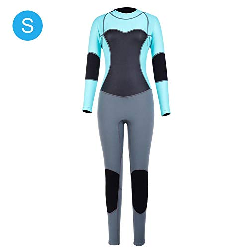 1.5mm Women One-piece Waterproof Wetsuit Diving Clothing Super Elastic Long-sleeved Full Body Sports Snorkeling Surfing Swimming Swimsuit Back Zipper Dive Skin Suit UV Protection Swimwear(S) ()