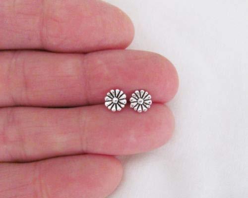 Sterling Silver 7mm Flower Post Stud Earrings. - Jewelry Accessories Key Chain Bracelet Necklace Pendants