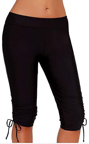 Nylon Stretch Boardshorts - Luodemiss Women's Long Swim Shorts, High Waist Board Shorts Tummy Control Swim Bottom Inner Brief Boardshorts Black(Adjustable Strap) 2XL