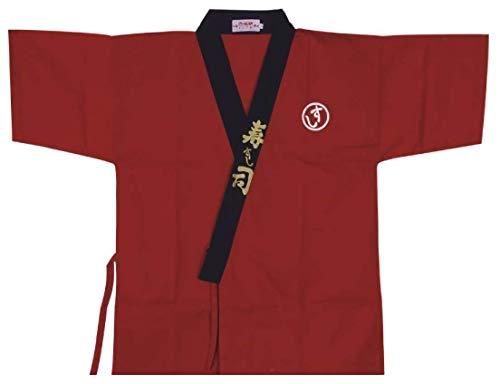 Japanese Sushi Chef Coat Uniforms Kimono for Unisex(Red L)