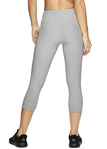 536486d5f75b3 RBX Active Women's Ribbed Pocket Running Yoga Capri Leggings Ribbed Grey M