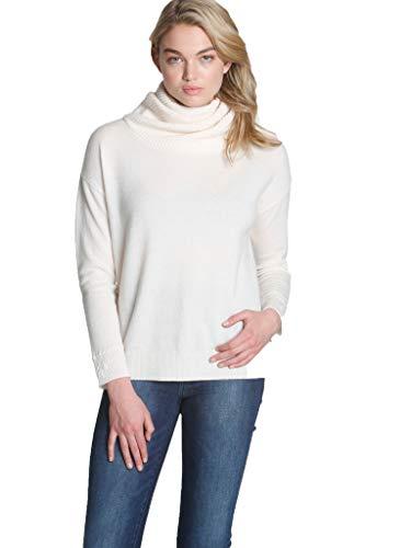 - Label + Thread Women's Cashmere Twisted Scrunch Neck Sweater - White