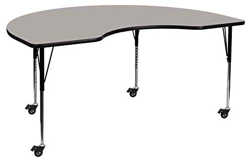 Flash Furniture Mobile 48''W x 72''L Kidney Grey HP Laminate Activity Table - Standard Height Adjustable Legs