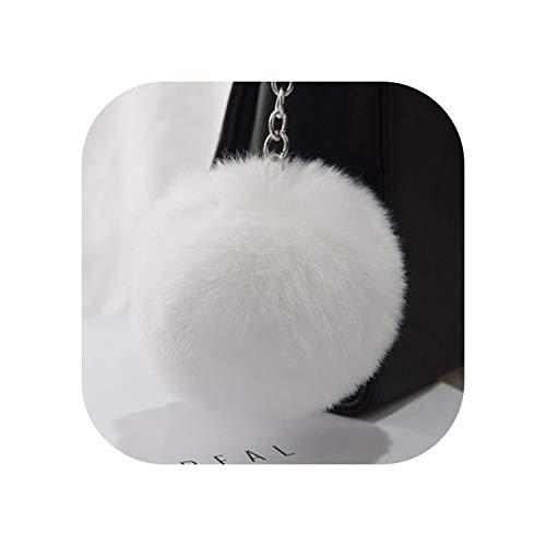 Keychains Soft Faux Rex Rabbit Fur Ball Car Keyring Pompom Key Chains,White