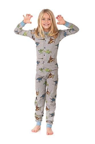 6a4dd7bc12 Dinosaur Union Suit Boys   Girls Onesie Pajamas T-Rex on Rear Flap ...