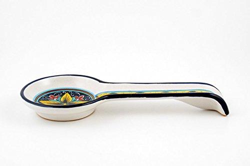 Hand Painted Italian Ceramic 11-inch Spoon Rest Vario F1 - Handmade in Deruta by Fima