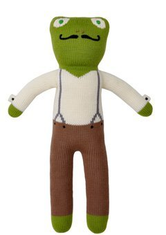 Blabla Luigi The Frog Plush Doll - Knit Stuffed Animal for Kids. Cute, Cuddly & Soft Cotton Toy. Perfect, Forever Cherished. Eco-Friendly. Certified Safe & Non-Toxic.