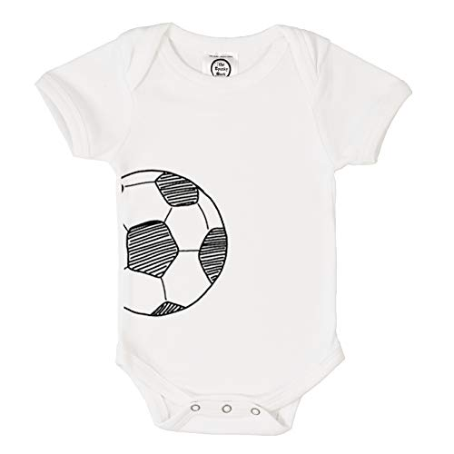 The Spunky Stork Soccer Ball Monochrome Organic Cotton Baby Bodysuit (6-12M) White