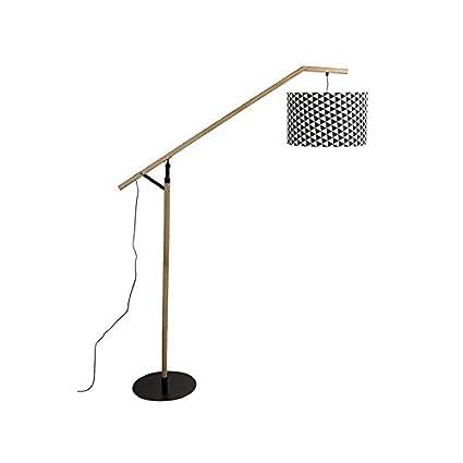 Lámpara de pie hierro y madera roble: Amazon.es: Hogar