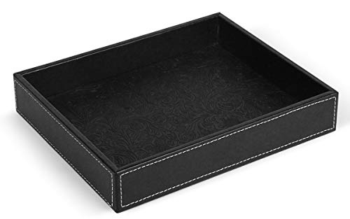 (Morenice Beautiful Vanity Tray, Catchall Tray, Valet Tray, Remote Control Tray, Desktop Storage Organizer for Nightstand or Dresser, 10.2 x 8.4 x 1.8 inches, Black PU Leather)
