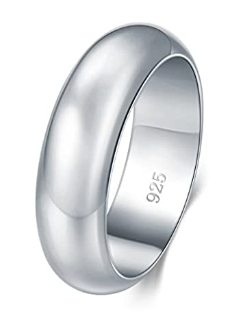 925 Sterling Silver Ring High Polish Plain Dome Tarnish Resistant Comfort Fit Wedding Band 6mm Ring Size (6 Mm White Gold Band)