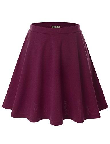 Doublju Womens Basic Versatile Stretchy Flared Skater Skirt PURPLE 3XL - Bras N Skirt