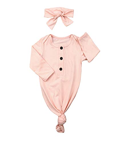 (Newborn Baby Girl Sleepwear Nightgown & Headband Set Knotted Baby Gown Gift Coming Home Outfit (Pink, 0-6 Months) )