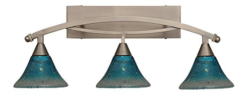 Toltec Lighting 173-BN-458 Bow 3 Light Bath Bar with 7″ Teal Crystal Glass, Brushed Nickel Finish