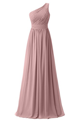 Ever Girl Women's Bridesmaid Chiffon Prom Dresses Long Evening Gowns Blush O6