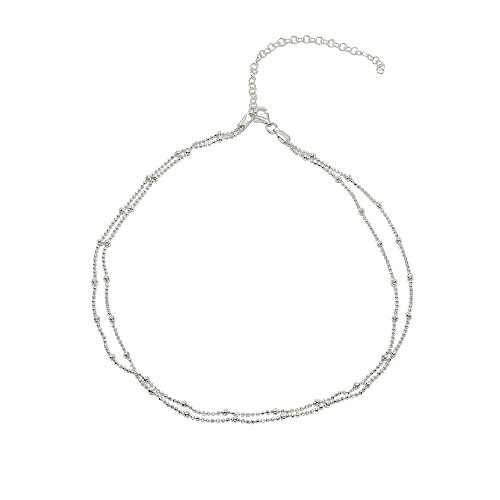 Sterling Silver Italian Double Strand Beads Chain Choker Necklace
