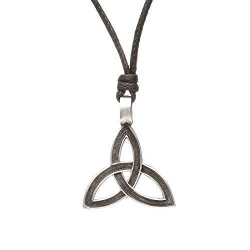 Fine Pewter Necklace (Amethyst Fine Pewter Necklace With Impressed Trinity Knot Design)