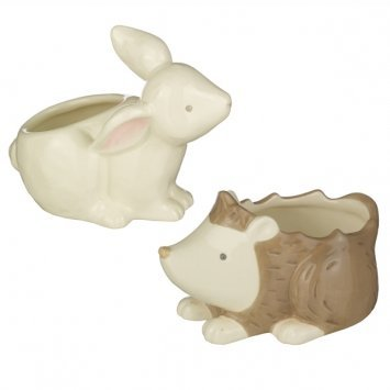 Bunny & Hedgehog Cotton Ball And Swab Holder Set