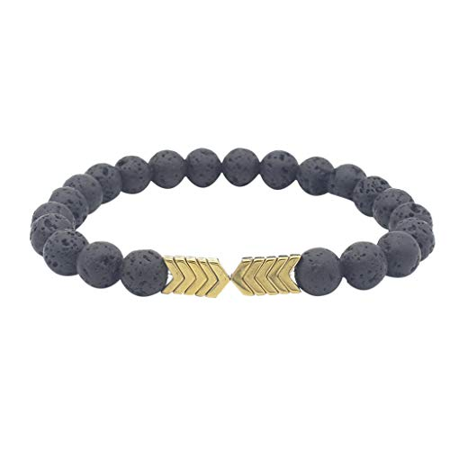 Clearance! Hot Sale! ❤ Metal Arrow Volcanic Stone Natural Stone Men and Women Bracelet Jewelry Under 5 Dollars Valentine's Day Gifts for Girlfriend/Boysfriend 2019 New