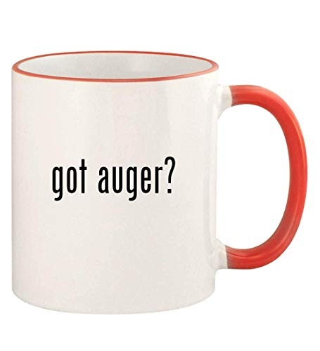 got auger? - 11oz Colored Rim and Handle Coffee Mug, Red