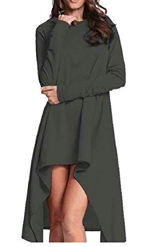 Moda Top Con Scuro Cappuccio Pullover Bordo Di Qianqian Del au Donne Vestito Irregolare Grigio Shirt Delle qORTwtR