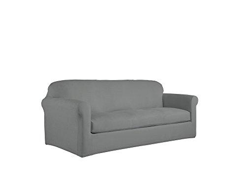 Serta 2 Piece Reversible Stretch Suede Box Sofa Slipcover, Steel Gray Herringbone/Gray Solid