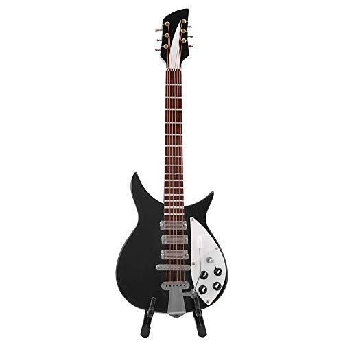 Bewinner Miniature Musical Instrument Model - Black Miniature Guitar Model - Exquisite Handmade Workmanship and Lifelike Look - Home Decoration Collectible Figurines